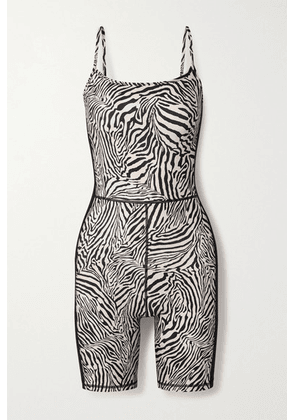 The Upside - Zebra-print Stretch Playsuit - Black