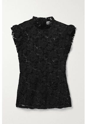L'Agence - Kassia Ruffled Lace Top - Black