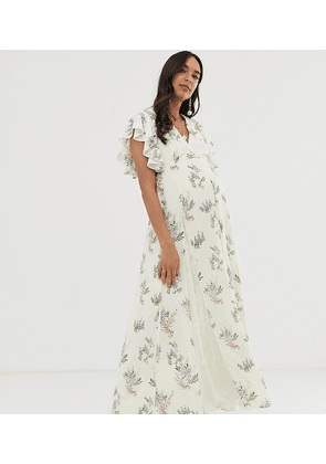 ASOS DESIGN Maternity maxi dress with godet lace inserts in ocassion print-Multi