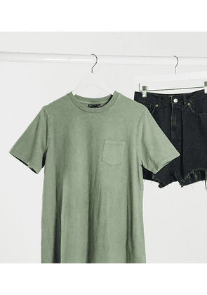 ASOS DESIGN Maternity t-shirt with pocket in washed khaki-Green