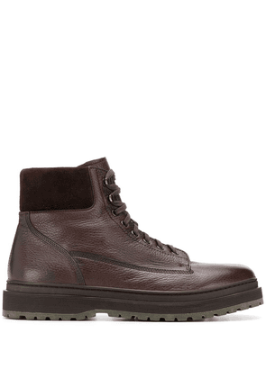 Henderson Baracco textured lace up ankle boots - Brown