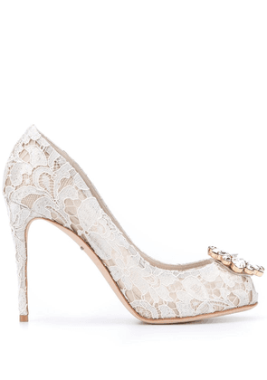 Dolce & Gabbana crystal embellished lace pumps - Neutrals