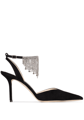 Jimmy Choo black Birtie 85 crystal suede pumps