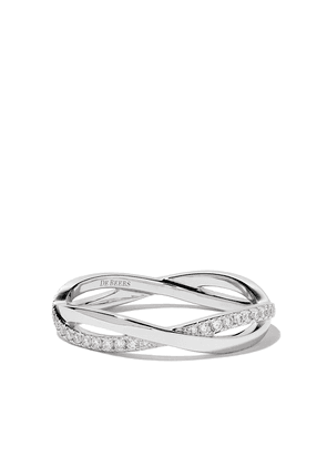 De Beers 18kt white gold Infinity half pave diamond band