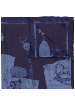 Etro embroidered scarf - Blue