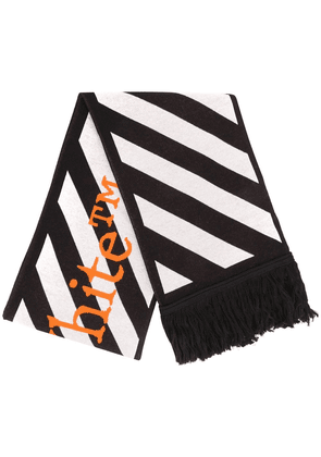 Off-White stripe logo detail scarf - Black