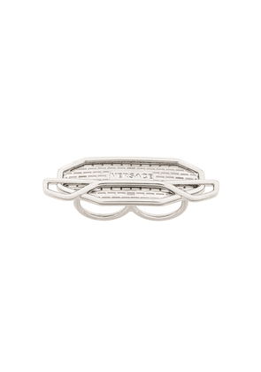Versace two-finger logo plaque ring - SILVER