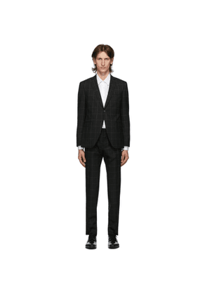 Boss Black Wool Window Pane Suit