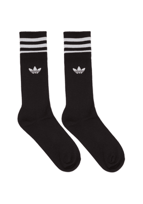 adidas Originals Three-Pack Black Solid Crew Socks