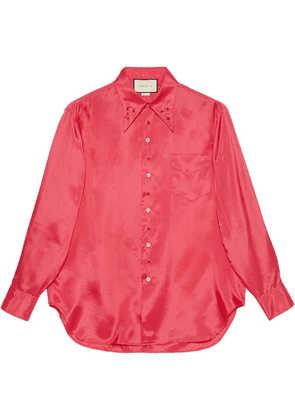 Gucci crystal-embellished button-up shirt - PINK
