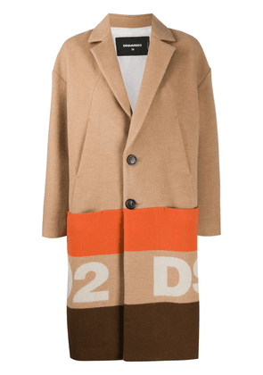 Dsquared2 striped-logo single breasted cocoon coat - NEUTRALS