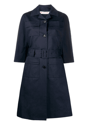 Marni single-breasted belted trench - Blue