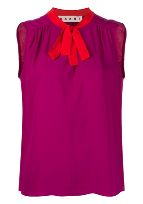Marni contrasting collar sleeveless top - PURPLE
