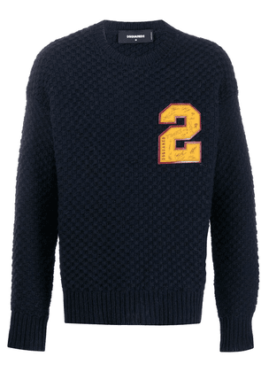 Dsquared2 chunky knit number patch jumper - Blue