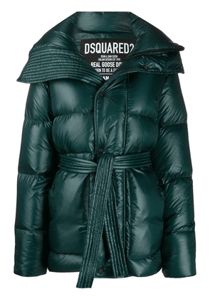 Dsquared2 high-shine tie-waist quilted down coat - Green