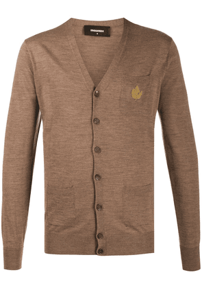 Dsquared2 logo embroidered cardigan - Brown