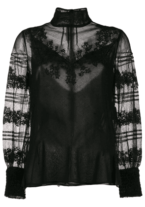 Valentino floral embroidery high-neck blouse - Black