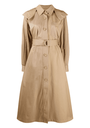 Kenzo draped hooded trench coat - NEUTRALS