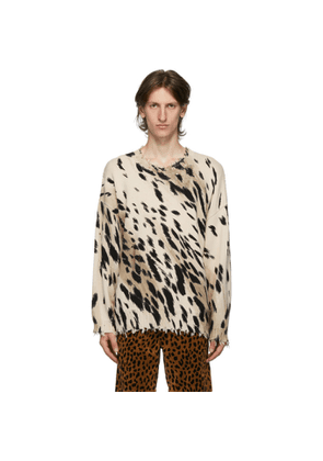 R13 Beige Cheetah Oversized Crewneck Sweater