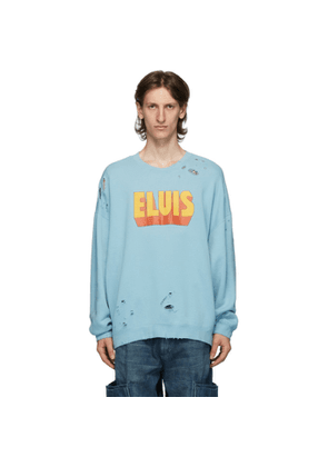 R13 Blue Elvis Logo Oversized Sweatshirt