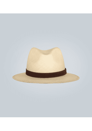 Straw Panama hat with suede band