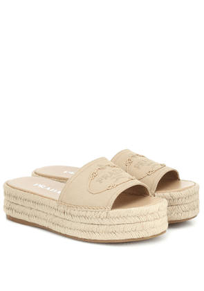 Canvas espadrille slides