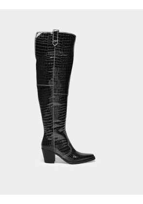 Boots Belly Croc in Black Leather