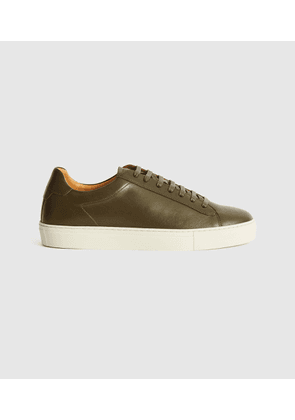 Reiss Finley - Leather Trainers in Camo, Mens, Size 7