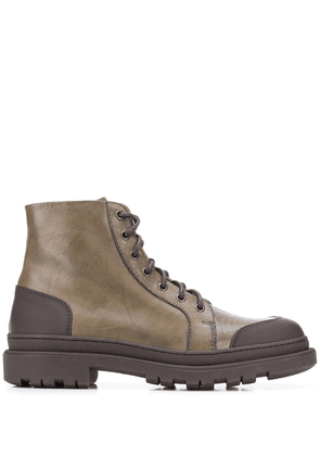 Brunello Cucinelli contrast panel lace-up boots - Green