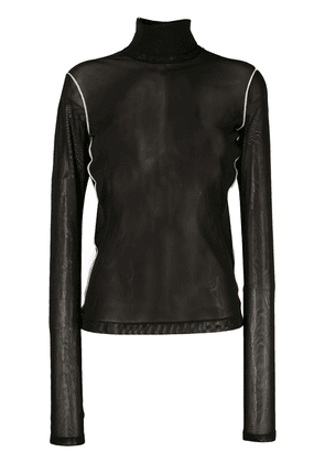 Helmut Lang roll neck sheer top - Black
