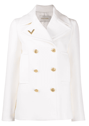 Valentino V-plaque double-breasted jacket - White