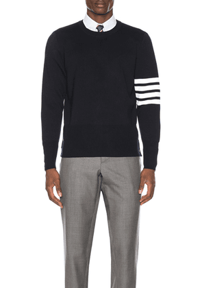 Thom Browne Merino Wool Crewneck Pullover in Navy - Blue,Stripes. Size 4 (also in 5).