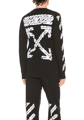 OFF-WHITE Airport Tape Long Sleeve Tee in Black & Multi - Black. Size S (also in XL).