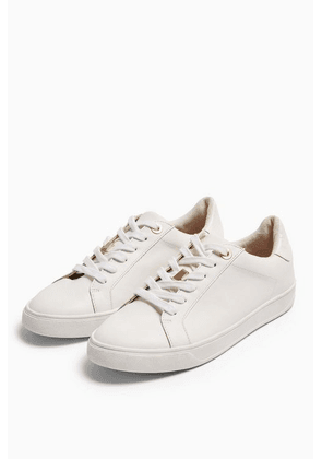 Womens Cabo White Lace Up Trainers - White, White
