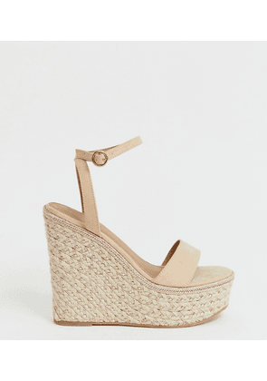 ASOS DESIGN Wide Fit Justina espadrille wedges-Gold