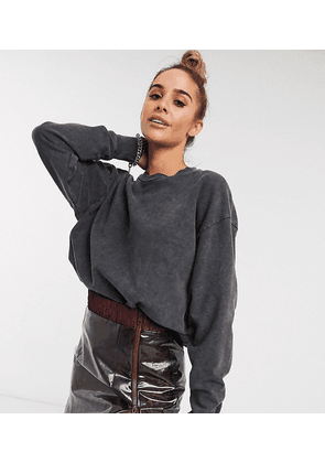 ASOS DESIGN oversized washed sweatshirt in charcoal-Grey