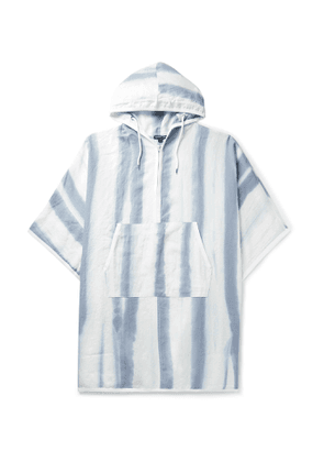 JAMES PERSE - Striped Linen Hooded Poncho - Men - Blue