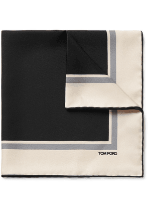 TOM FORD - Contrast-Tipped Silk-Twill Pocket Square - Men - Black