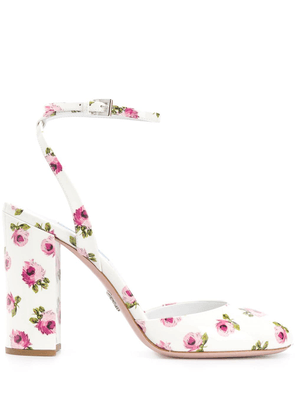 Prada floral print pumps - White