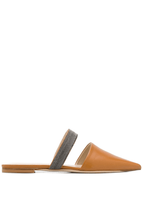 Fabiana Filippi pointed flat mules - Brown