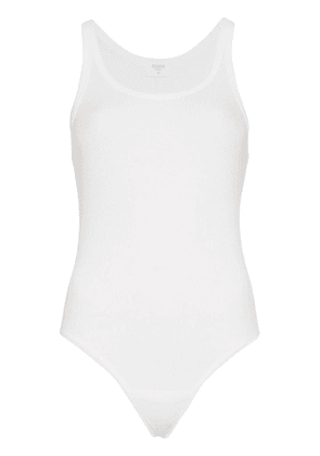 RE/DONE white sleeveless ribbed cotton body vest