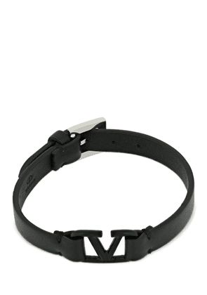 10mm V Logo Leather Belt Bracelet