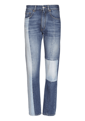 Patchwork Straight Cotton Denim Jeans