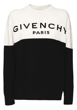 Logo Two Tone Knit Cashmere Sweater