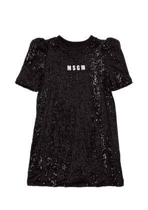 Sequined Dress W/ Logo Patch