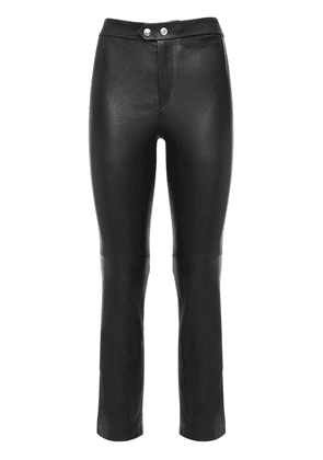 Stretch Leather Straight Pants