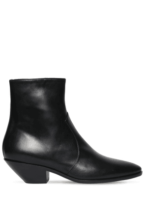 45mm Western Leather Ankle Boots