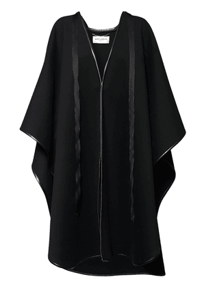 Wool Blend Cape W/ Leather Piping