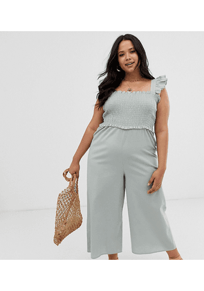 ASOS DESIGN Curve shirred frill sleeve jumpsuit-Green