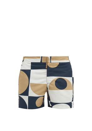 Frescobol Carioca - Copic Abstract-print Shell Swim Shorts - Mens - Gold Navy